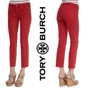 Tory Burch Red Alexa Cropped Skinny Jean size 26